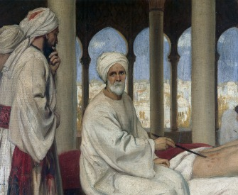 Albucasis blistering a patient in the hospital at Cordova, 1100, by Ernest Board, c. 1912.