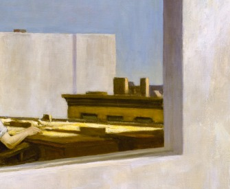 Painting of a man in an office looking out of the window.