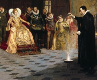 John Dee performing an experiment before Queen Elizabeth I.