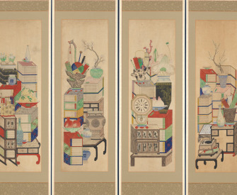 Detail of Books and Scholars' Possessions, ten-panel folding screen by an unidentified artist, early twentieth century. The Metropolitan Museum of Art, Purchase, Shelby White Gift, 2005.