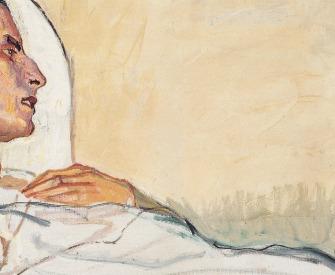 Valentine Godé-Darel in a Hospital Bed, by Ferdinand Hodler, 1914.