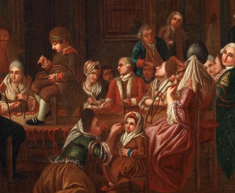 Mesmeric therapy, by a French painter, 1778-1784.