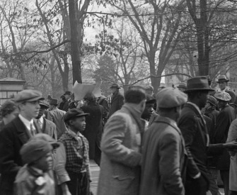 Black-and-white photograph of protesters, early twentieth century.