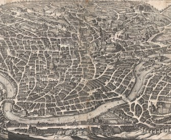 Bird's eye view of Rome, by Matthus Merian, c. 1641.