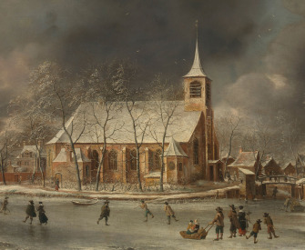 View of the Church of Sloten in the Winter, by Jan Abrahamsz. Beerstraten, 1640–66. Rijksmuseum.