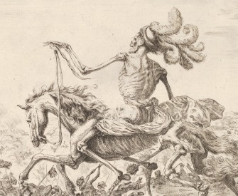 Death on a battlefield, atop a horse riding towards the left, wearing a hat with many feathers, other figures of Death battling to left and right in the background, by Stefano della Bell