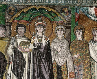 Empress Theodora and retinue, mosaic panel from the Basilica of San Vitale, Ravenna, Italy, sixth century.