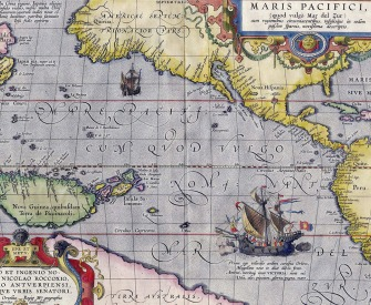 Maris Pacifici, the first printed map to depict the Pacific Ocean, Abraham Ortelius, 1589.