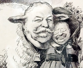 Political cartoon showing Theodore Roosevelt and William Howard Taft.
