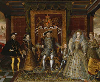 An Allegory of the Tudor Succession: The Family of Henry VIII, by unknown artist, c. 1590. Yale Center for British Art, Paul Mellon Collection.