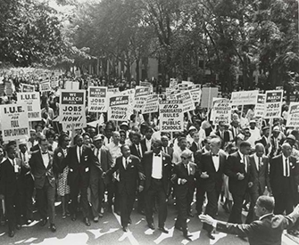 March on Washington for Jobs and Freedom, with Martin Luther King Jr. in the center and Joachim Prinz on the far left, 1963. American Jewish Historical Society.
