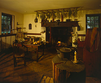 The kitchen at Memorial House and Colonial Kitchen Complex in Warsaw, VA. Photograph by Jack E. Boucher. Library of Congress, Prints and Photographs Division.
