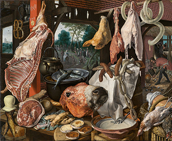 Still Life with Meat and the Holy Family, by Pieter Aertsen, 1551.