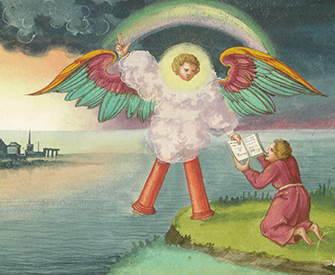 Folio 184: John and the Angel (detail), Book of Revelation, from the Augsburg Book of Miracles, c. 1552.