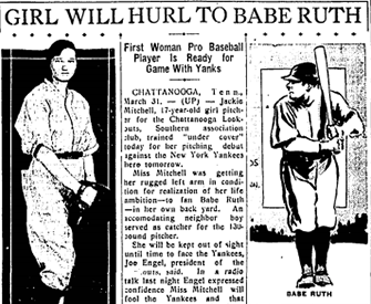 """Girl Will Hurl to Babe Ruth,"" Austin Statesman, March 31, 1931."