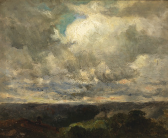 A painting of a rolling landscape with dark ominous clouds.