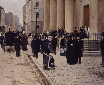 Sunday at the Church of Saint-Philippe-du-Roule, Paris (detail), by Jean Béraud, 1877.