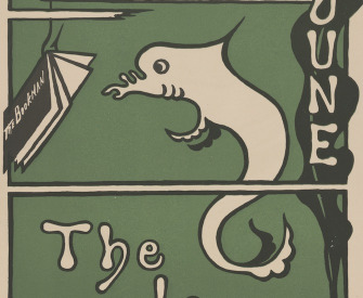 An advertisement for the Bookman. On a green background, a drawing of a fish reading a copy of the Bookman dangling from the hook on a fishing line.