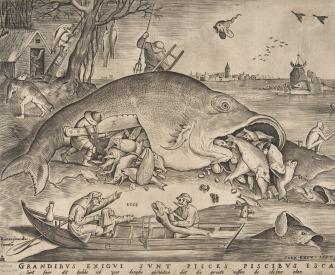 "Detail from ""Big Fish Eat Little Fish,"" by Pieter Bruegel the Elder, engraving by Pieter van der Heyden, 1557."