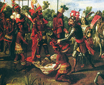 The Meeting of Cortés and Moctezuma (detail), from the Conquest of México series, Mexico, second half of seventeenth century. Library of Congress, Rare Book and Special Collections Division, Jay I. Kislak Collection.