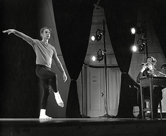 """Merce Cunningham and John Cage perform """"How to Pass, Kick, Fall, and Run,"""" April 13, 1971. University Musical Society."""