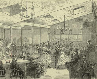 """Inside Harry Hill's Dance-House,"" Houston Street near Broadway, New York City, 1869. The New York Public Library Digital Collections."