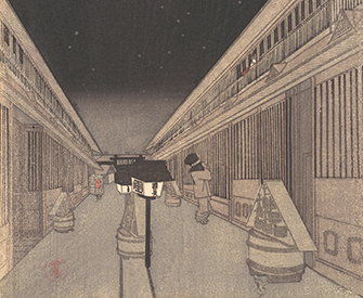 Main Street of the Yoshiwara on a Starlight Night, by Utagawa Kunisada II, c. 1852. The Metropolitan Museum of Art, The Howard Mansfield Collection, Purchase, Rogers Fund, 1936.