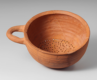Terracotta hemispherical strainer, sixth century BC. The Metropolitan Museum of Art, Gift of The American Society for the Exploration of Sardis, 1914.