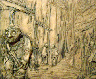 """""""The people of Innsmouth are not very friendly to outsiders,"""" by David Gassaway, 2011. Polymer clay, india ink."""