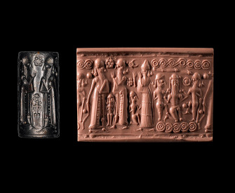 Cylinder seal showing Gilgamesh and Enkidu killing the giant Humbaba, Mitannian, c. 1400–1300 BC.