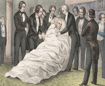 Death of John Quincy Adams at the U.S. Capitol, February 23, 1848, by Currier & Ives. Library of Congress, Prints and Photographs Division.