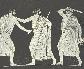 The assassination of Hipparchus by Harmodius and Aristogeiton, from Kulturgeschichte, by Friedrich Anton Heller von Hellwald and Max Von Brandt, 1896.