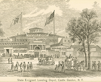 State Emigrant Landing Depot, Castle Garden, New York, 1861. The New York Public Library, The Miriam and Ira D. Wallach Division of Art, Prints and Photographs: Print Collection.