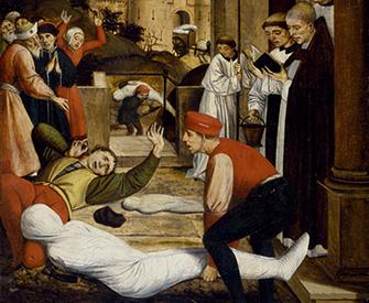 Saint Sebastian Interceding for the Plague Stricken (detail), by Josse Lieferinxe, c. 1497–99.