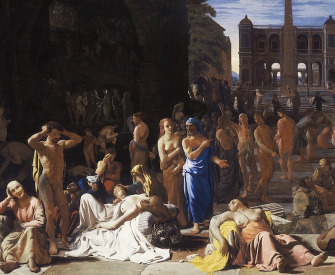 A painting of a plague-ridden ancient city, often thought to represent the plague of Athens in 430BC. The painting show people gathered in a town square, some dying and dead on the ground, while others look distressed or care for the ill.