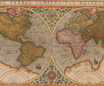 Orbis terrae compendiosa descriptio, by Rumold Mercator, 1587, based on a 1569 map by Gerardus Mercator.