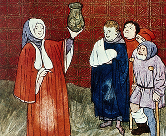 Physician with a urine flask, from a medieval manuscript. Wellcome Collection (CC BY 4.0).