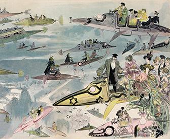 La Sortie de l'opéra en l'an 2000 (People Leaving the Opera in the Year 2000), by Albert Robida, c. 1902.
