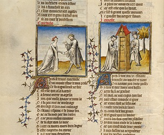 Illustrations from the manuscript Romance of the Rose, by Guillaume de Lorris, c. 1405.