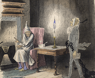 Ebenezer Scrooge visited by Marley's Ghost, by John Leech, 1843. The British Library.