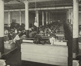 Mail-packing section of the Sears, Roebuck & Co. shipping department, Chicago.