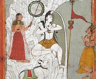 Shiva Bearing the Descent of the Ganges River, folio from a Hindi manuscript by the saint Narayan, c. 1740. Los Angeles County Museum of Art, Gift of Paul F. Walter.