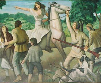 """""""Rachel Silverthorne's Ride,"""" from a New Deal mural by John W. Beauchampin at the Muncy, Pennsylvania, post office, 1938."""