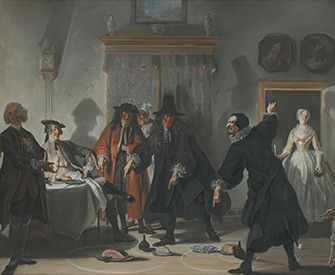 The Mathematicians or the Young Lady Who Fled: The Dispute Between Doctors Raasbollius and Urinaal (detail), painting by Cornelis Troost, 1741. Mauritshuis, The Hague.