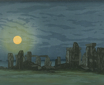 Stonehenge (Moonlight), by Yoshijiro Urushibara (Mokuchu), twentieth century. Fine Arts Museums of San Francisco, California State Library loan.
