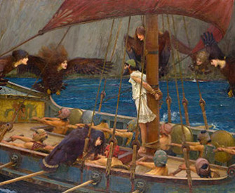 A painting depicting Odysseus tied to the mast of his ship while he listens to the song of the sirens. His crew rows the ship.