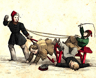 Illustration of people on sledges from a German children's book, c. 1850. Archive of the author.