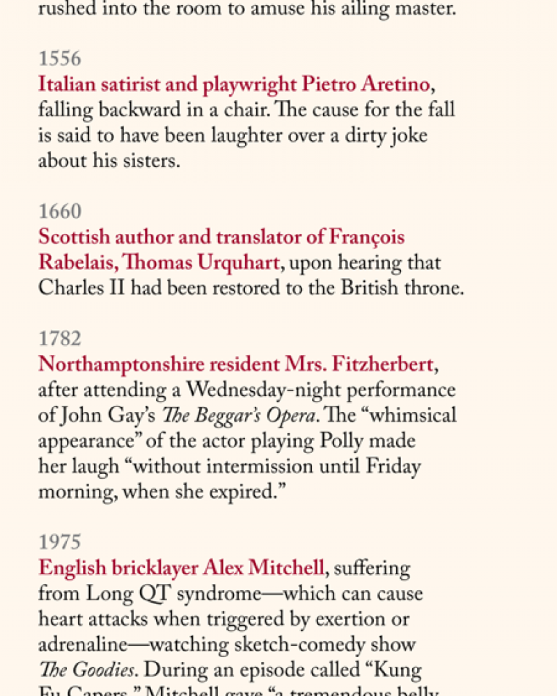a list of people who literally died laughing through history, from 450 BC to 2013