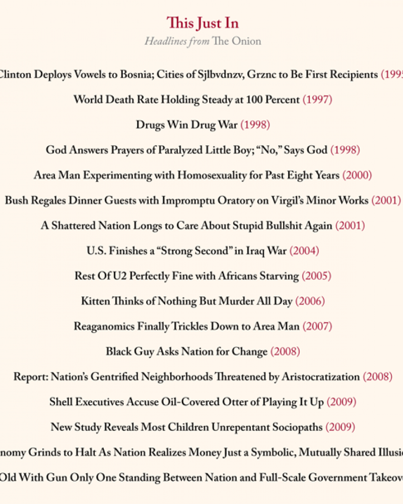 """List of fake newspaper headlines from """"The onion"""""""