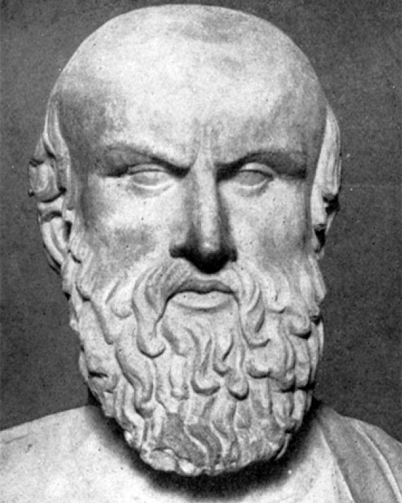 Portrait bust of Greek dramatist Aeschylus.